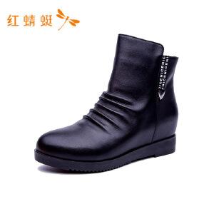 【专柜正品】红蜻蜓中高帮内增高休闲时尚百搭女靴子