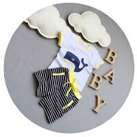 婴儿短袖T恤套装纯棉夏宝宝衣服卡通两件套薄款儿童上衣1-2-3岁潮
