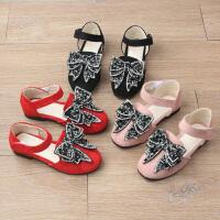 女童凉鞋春夏儿童皮鞋包头水钻公主鞋女孩软底单鞋
