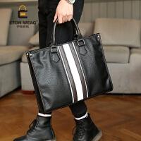 韩版男包 英伦商务手提包 复古男包休闲单肩公文包潮流男包包 黑色 -*品