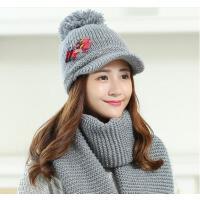 韩版女士大毛球 保暖鸭舌毛线帽 加厚加绒 百搭 拼接布贴点点款帽子+围巾