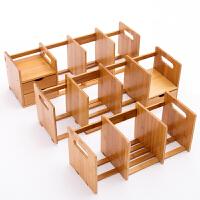 楠竹简易书架桌上小书架置物架实木儿童学生伸缩办公桌面收纳架子
