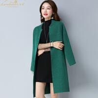 秋冬新款女装韩版宽松针织衫女开衫纯色大码中长款毛衣外套女披肩
