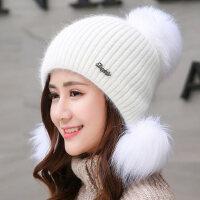 纯色双层加厚保暖时尚兔毛帽子女百搭针织毛线帽可爱护耳