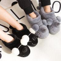 棉拖鞋女卡通韩版可爱包跟厚底防滑居家软底室内情侣棉拖