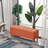 实木换鞋凳储物凳沙发凳子长方形布艺服装店试衣间家用床尾凳收纳 橙色 120*40*42 可储物