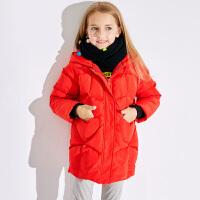 小猪班纳女童羽绒服厚连帽长款秋冬新款中大童儿童外套宽松洋气