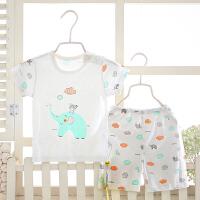 男女宝宝短袖套装竹纤维儿童睡衣服T恤短裤薄款舒适家居服
