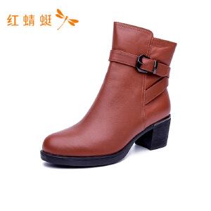 红蜻蜓通勤时尚高跟鞋靴短靴女短筒靴子