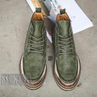 CUM 潮牌春秋新品 高帮皮鞋男士中帮鞋潮流英伦复古休闲鞋子 做旧厚底鞋子
