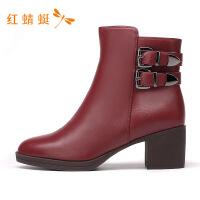 红蜻蜓女鞋新款百搭时尚舒适系带短靴英伦风潮流短筒靴-