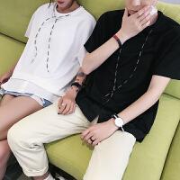 情侣装夏装新款短袖T恤潮男女连帽个性半袖体恤情侣学生班服