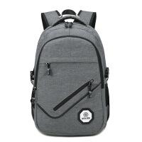 双肩包男韩版休闲大学生书包USB充电背包男士旅行电脑包潮
