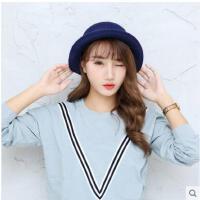 帽子复古小礼帽韩版时尚翻檐渔夫帽圆顶盆帽女蝴蝶结
