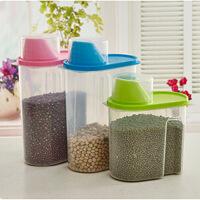 塑料五谷收纳盒 厨房杂粮密封罐 收纳罐储物罐 食品储存盒 2.5L 颜色随机,单个装