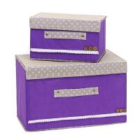 优芬彩色大小两件套扣扣收纳箱日式收纳盒无纺布储物箱 紫色