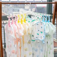 小孩不锈钢晾衣架落地 宝宝晾衣架多夹子多功能婴儿阳台室内折叠儿童毛巾架小孩尿布架 1个