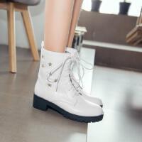 童靴秋冬季儿童马丁靴小女孩系带短靴新款女童单靴子黑色皮靴
