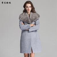 秋冬女士中长款外套水貂披肩领时尚修身羊毛呢大衣M-616351
