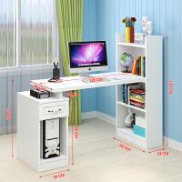 简约转角书桌家用电脑桌书柜书架一体桌组合现代台式桌学生写字桌