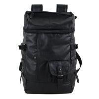 男士�p肩包旅行包背包 PU皮��包潮休�e男包大包�p肩背包