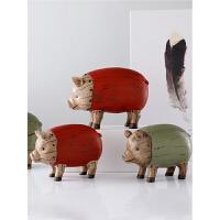 欧式木纹猪摆件家居客厅样板间摆设服装店咖啡厅软装陈列软装饰品