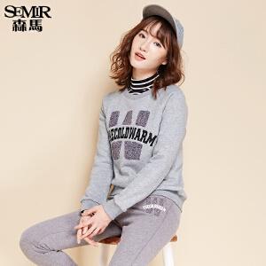 森马卫衣 冬装 女士圆领套头字母印花直筒长袖T恤韩版潮