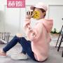 【赫��】2017秋冬季纯色有绒长袖卫衣学生韩版宽松学院风连帽上衣外套H6818