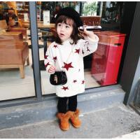 冬季女童裙宝宝中长款双层加绒星星毛衣高领套头针织上衣