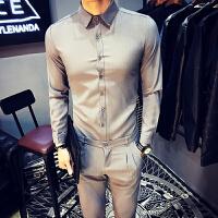 商务韩版男士长袖衬衫西裤一套装男修身工作服衬衣套装夜店发型师