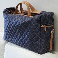 12新款韩版菱格时尚旅行包大容量男士手提斜跨男包女大包行李包原创设计 全场满2件送手包 大