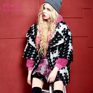 妖精的口袋雪星人冬装女士时尚欧美翻领提花毛呢大衣外套女中长款