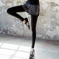 时尚新款速干健身房紧身跑步裤假两件健身服显瘦运动瑜伽服女长裤 黑色