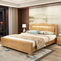 中式实木床主卧双人1.8木床1.5米现代高箱储物床 1800mm*2000mm 其他结构