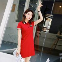 2018夏季新款连衣裙POLO领亮片宽松运动休闲裙夏装学院风短袖裙子 红色 M/160