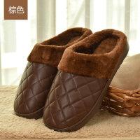 新款PU皮棉拖鞋女冬季情侣防滑男包跟月子保暖毛拖鞋厚底