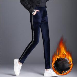 金丝绒裤子女新款冬季加大码加绒裤紧身高腰双面绒打底裤长裤