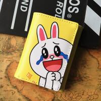 新款个性钱包女 日韩可爱简约学生钱夹女短款卡通迷你小钱包 眼泪兔+卡包