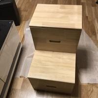 简易实木梯子木楼梯实木梯凳两用带抽屉收纳梯柜木抽屉床头储物梯