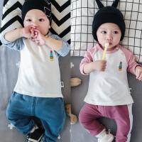 婴儿春秋上衣宝宝长袖弹力T恤衫0-1岁3-6-9-12个月春季男女打底衫