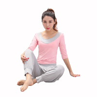 瑜伽套装 女室内健身瑜伽服显瘦套装莫代尔灯笼裤长袖短袖运动健身服上衣夏季舞蹈服瑜伽服