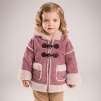 戴维贝拉冬季加绒外套 女童连帽保暖外出服DB5471