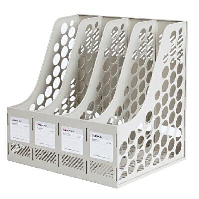 齐心B2174 四联文件框塑料 文件资料架 文件栏 文件筐 文件盘 四格文件框 齐心好品质文具