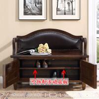美式实木换鞋凳式鞋柜家用储物收纳凳欧式进门口多功能穿鞋登可坐 600*370*810 双门