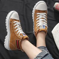 休闲鞋 女士圆头高帮增高休闲鞋2020秋冬新款韩版女式学生低筒加绒板鞋