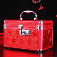 结婚嫁妆大号红色化妆盒新娘铝合金收纳盒婚礼婚庆礼物首饰盒密码