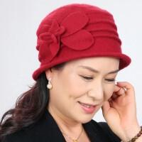 女士羊毛呢中老年帽子 新款双面羊毛呢老人帽 韩版手工礼帽女中年妈妈帽婆婆帽