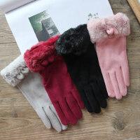 韩版舒适少女可爱手套 真皮毛绒五指骑行手套保暖 加绒分指软妹防寒手套
