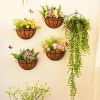 欧式壁挂花盆 北欧墙壁装饰品墙上壁挂花篮卧室阳台墙面小花架创意家居装饰花盆 卡其色 图片5个Q 中