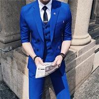 夏季薄款西服套装男韩版双排扣七分袖小西装男三件套修身中袖西装